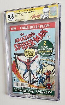 Marvel True Croyants Réimprimer Amazing Spiderman #1 Signé Par Stan Lee Cgc 9.6 Ss