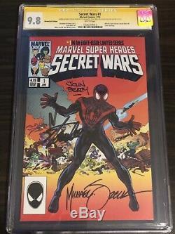 Secret Wars # 1 Cgc 9.8 4x Ss Signé Lee Stan Zeck Beatty Ribic Variante # 8 Hommage