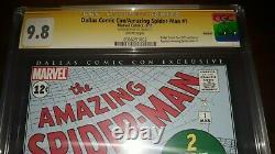 Signé Amazing Spider-man 1 Cgc 9.8 Ss Par Stan Lee Dallas Comic Con (2011)