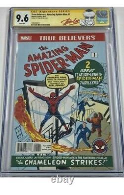 Signé Par Stan Lee Spider-man #1 Cgc 9,6 Marvel True Believers Reprint