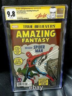Signé Stan Lee Cgc 9.8 True Believers Amazing Fantasy 1 Spider-man Réimpression 15