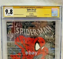 Spider-man #1 Cgc 9.8 Silver Signé Stan Lee Todd Mcfarlane Art! Sm #1 Hommage