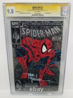 Spider-man #1 Cgc 9.8 Ss Silver 1990 Signé 2x Stan Lee & Todd Mcfarlane 2011