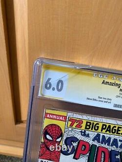 Spider-man Amazing Annuel # 1 (1964) 1er Sinister Six Signé Stan Lee Cgc 6.0