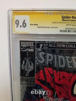Spiderman #1 Silver Edition Cgc 9.6 Ss Signé Par Stan Lee & Todd Mcfarlane! 1990