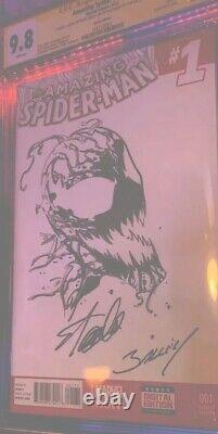 Stan Lee Signé - Sketch Cgc 9.8 Amazing Spider-man #1 Stan Lee - Mark Bagley