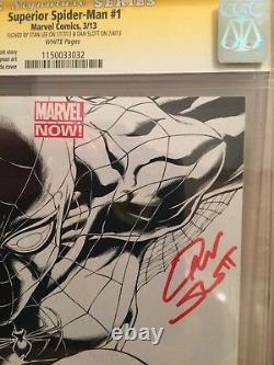 Superior Spider-man # 1 Quesada Variant Cgc 9.8 Ss X2 Stan Lee Et Dan Slott