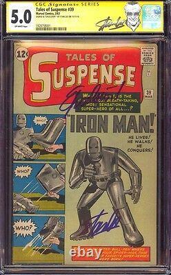 Tales Of Suspense 39 Cgc 5.0 Ss Stan Lee Cité Excelsior! Label 1er Iron Man