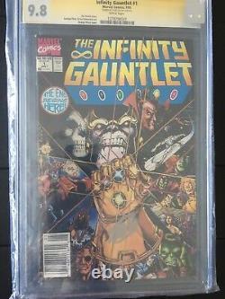 The Infinity Gauntlet # 1 Cgc 9.8 Variante De Kiosque À Journaux Rare Ss Stan Lee