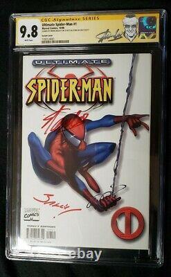 Ultimate Spider-man #1 Cgc 2x Ss 9,8 Variante Blanche Signée Par Stan Lee & Bagley