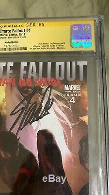 Ultime Fallout # 4 Djurdjevic Variant 1er Miles Morales Cgc 9.4 Signé Stan Lee