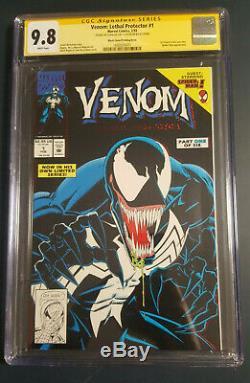 Venom Lethal Protector 1 Cgc 9,8 Ss Stan Lee Cover Black Dernier Livre Stan Signé