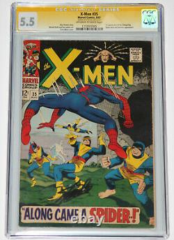 X-men 35 Cgc 5.5 Ss Signé Stan Lee Spider-man Key Apparence! Âge Argent! Owithwt